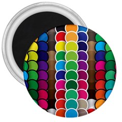 Circle Round Yellow Green Blue Purple Brown Orange Pink 3  Magnets by Mariart