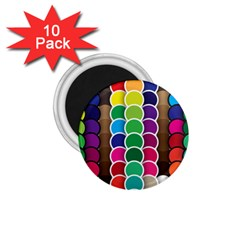 Circle Round Yellow Green Blue Purple Brown Orange Pink 1 75  Magnets (10 Pack)  by Mariart