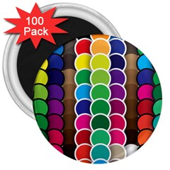 Circle Round Yellow Green Blue Purple Brown Orange Pink 3  Magnets (100 Pack) by Mariart