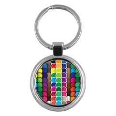 Circle Round Yellow Green Blue Purple Brown Orange Pink Key Chains (round)  by Mariart