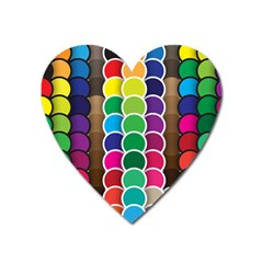 Circle Round Yellow Green Blue Purple Brown Orange Pink Heart Magnet by Mariart