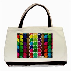 Circle Round Yellow Green Blue Purple Brown Orange Pink Basic Tote Bag by Mariart