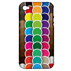 Circle Round Yellow Green Blue Purple Brown Orange Pink Apple Iphone 4/4s Hardshell Case (pc+silicone) by Mariart