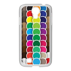 Circle Round Yellow Green Blue Purple Brown Orange Pink Samsung Galaxy S4 I9500/ I9505 Case (white)