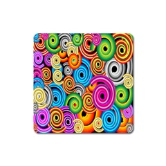 Circle Round Hole Rainbow Square Magnet by Mariart