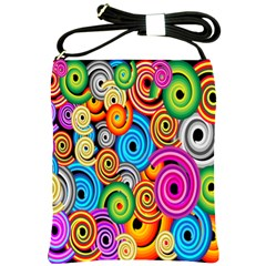 Circle Round Hole Rainbow Shoulder Sling Bags by Mariart