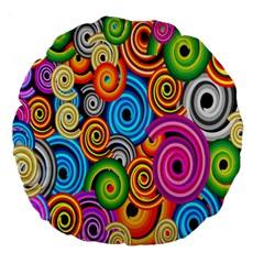 Circle Round Hole Rainbow Large 18  Premium Round Cushions by Mariart