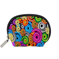 Circle Round Hole Rainbow Accessory Pouches (small)  by Mariart