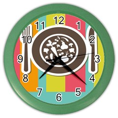Dinerplate Tablemaner Food Fok Knife Color Wall Clocks by Mariart