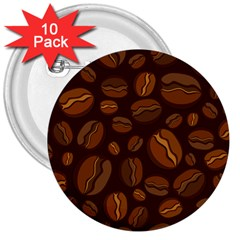 Coffee Beans 3  Buttons (10 Pack)  by Mariart