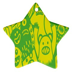 Easter Monster Sinister Happy Green Yellow Magic Rock Ornament (star) by Mariart