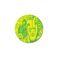 Easter Monster Sinister Happy Green Yellow Magic Rock Golf Ball Marker (10 Pack) by Mariart