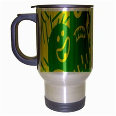 Easter Monster Sinister Happy Green Yellow Magic Rock Travel Mug (silver Gray) by Mariart