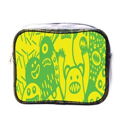 Easter Monster Sinister Happy Green Yellow Magic Rock Mini Toiletries Bags by Mariart