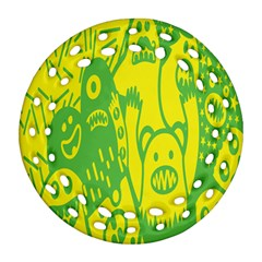 Easter Monster Sinister Happy Green Yellow Magic Rock Ornament (round Filigree) by Mariart