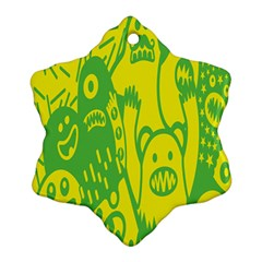 Easter Monster Sinister Happy Green Yellow Magic Rock Ornament (snowflake) by Mariart
