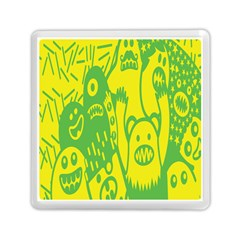 Easter Monster Sinister Happy Green Yellow Magic Rock Memory Card Reader (square)  by Mariart