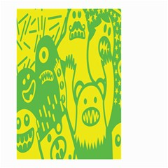 Easter Monster Sinister Happy Green Yellow Magic Rock Small Garden Flag (two Sides) by Mariart