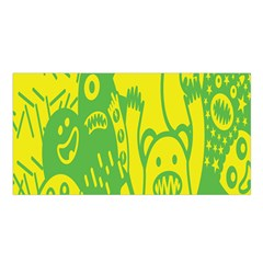 Easter Monster Sinister Happy Green Yellow Magic Rock Satin Shawl by Mariart