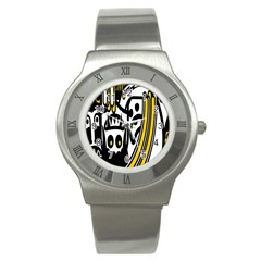 Easter Monster Sinister Happy Magic Rock Mask Face Polka Yellow Stainless Steel Watch by Mariart