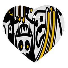 Easter Monster Sinister Happy Magic Rock Mask Face Polka Yellow Heart Ornament (two Sides) by Mariart