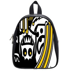 Easter Monster Sinister Happy Magic Rock Mask Face Polka Yellow School Bags (small)  by Mariart