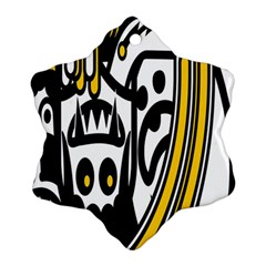 Easter Monster Sinister Happy Magic Rock Mask Face Polka Yellow Snowflake Ornament (two Sides) by Mariart