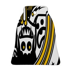 Easter Monster Sinister Happy Magic Rock Mask Face Polka Yellow Bell Ornament (two Sides) by Mariart