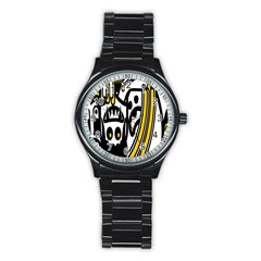 Easter Monster Sinister Happy Magic Rock Mask Face Polka Yellow Stainless Steel Round Watch by Mariart