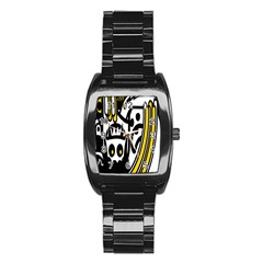 Easter Monster Sinister Happy Magic Rock Mask Face Polka Yellow Stainless Steel Barrel Watch by Mariart
