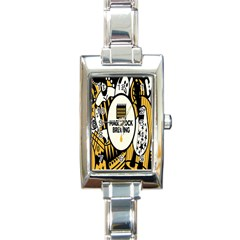 Easter Monster Sinister Happy Magic Rock Mask Face Yellow Magic Rock Rectangle Italian Charm Watch by Mariart