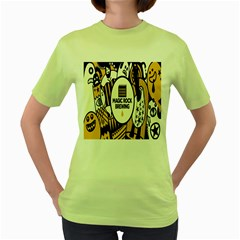 Easter Monster Sinister Happy Magic Rock Mask Face Yellow Magic Rock Women s Green T Shirt by Mariart