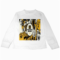 Easter Monster Sinister Happy Magic Rock Mask Face Yellow Magic Rock Kids Long Sleeve T Shirts by Mariart