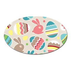 Easter Rabbit Bunny Rainbow Oval Magnet by Mariart