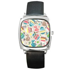 Easter Rabbit Bunny Rainbow Square Metal Watch by Mariart