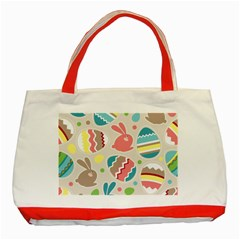 Easter Rabbit Bunny Rainbow Classic Tote Bag (red) by Mariart