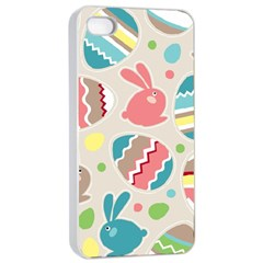 Easter Rabbit Bunny Rainbow Apple Iphone 4/4s Seamless Case (white) by Mariart