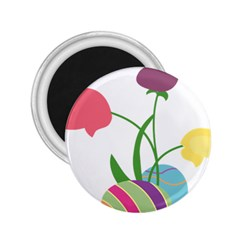 Eggs Three Tulips Flower Floral Rainbow 2 25  Magnets by Mariart