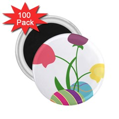Eggs Three Tulips Flower Floral Rainbow 2 25  Magnets (100 Pack)  by Mariart