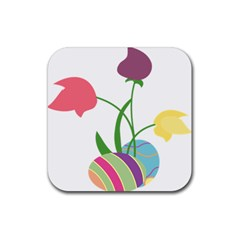Eggs Three Tulips Flower Floral Rainbow Rubber Square Coaster (4 Pack)  by Mariart