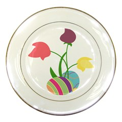 Eggs Three Tulips Flower Floral Rainbow Porcelain Plates by Mariart