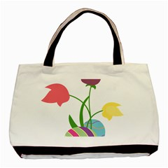 Eggs Three Tulips Flower Floral Rainbow Basic Tote Bag by Mariart