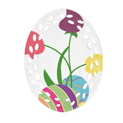 Eggs Three Tulips Flower Floral Rainbow Ornament (oval Filigree) by Mariart