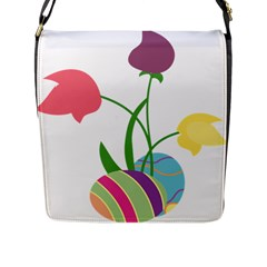 Eggs Three Tulips Flower Floral Rainbow Flap Messenger Bag (l)  by Mariart