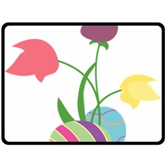 Eggs Three Tulips Flower Floral Rainbow Double Sided Fleece Blanket (large)  by Mariart