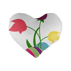 Eggs Three Tulips Flower Floral Rainbow Standard 16  Premium Flano Heart Shape Cushions by Mariart