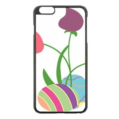 Eggs Three Tulips Flower Floral Rainbow Apple Iphone 6 Plus/6s Plus Black Enamel Case