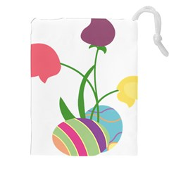 Eggs Three Tulips Flower Floral Rainbow Drawstring Pouches (xxl) by Mariart