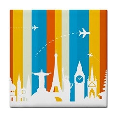 Eiffel Tower Monument Statue Of Liberty Tile Coasters by Mariart