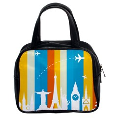 Eiffel Tower Monument Statue Of Liberty Classic Handbags (2 Sides) by Mariart